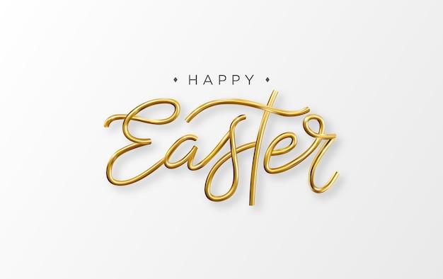 Feliz páscoa 3d inscrição de letras douradas