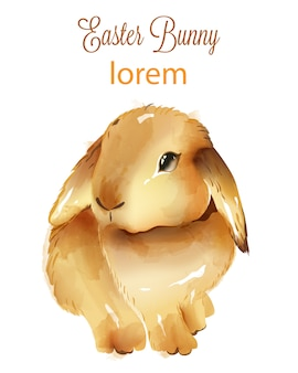 Feliz páscoa aquarela fofo coelho com orelhas para baixo