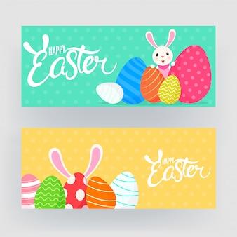 Feliz páscoa banner conjunto com coelho de desenho animado