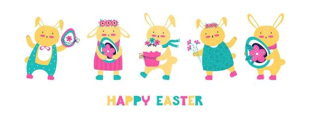 Feliz páscoa! banner horizontal de férias com texto. coelhinhos e lebres fofos com ovos de páscoa, bolo e um buquê de flores