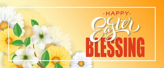 Feliz páscoa bênção letras no quadro com flores em fundo laranja.