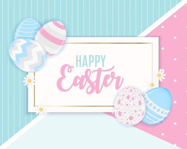 Feliz páscoa bonito com cartão de ovos