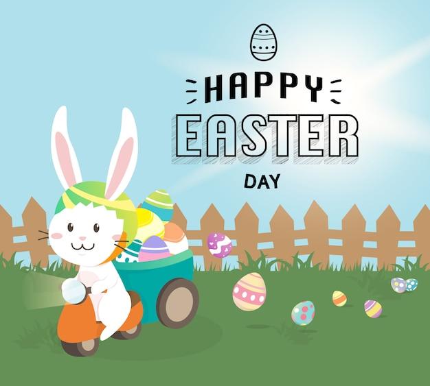 Feliz páscoa cartão, coelhinha com ovos de páscoa coloridos no campo de primavera. ilustração vetorial