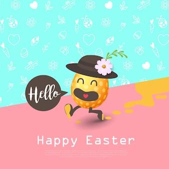 Feliz páscoa cartão colorido com desenhos animados de ovos de páscoa em execução.