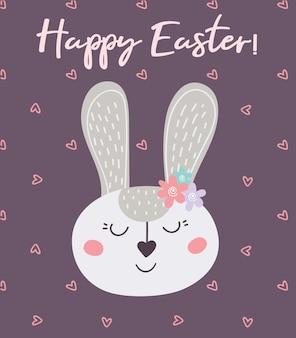 Feliz páscoa. cartão com coelhinho da páscoa e corações