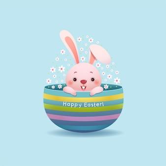 Feliz páscoa cartão com coelhinho da páscoa e ovo