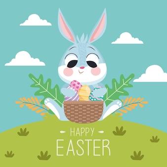 Feliz páscoa cartão com coelho e ovos na cesta na paisagem