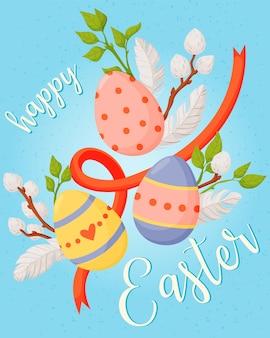 Feliz páscoa cartão com decorações tradicionais Vetor Premium