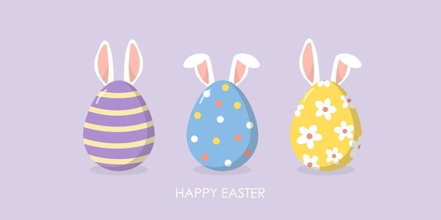 Feliz páscoa cartão com orelhas fofos de coelho e ovos.