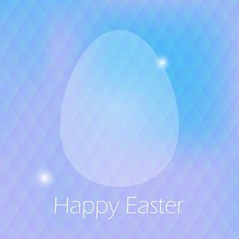 Feliz páscoa cartão com ovo e fundo roxo blured. cartão de férias turva fundo roxo. ilustração vetorial