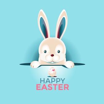 Feliz páscoa cartão com ovos e coelho rosto closeup