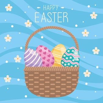 Feliz páscoa cartão com ovos pintados na cesta e flores