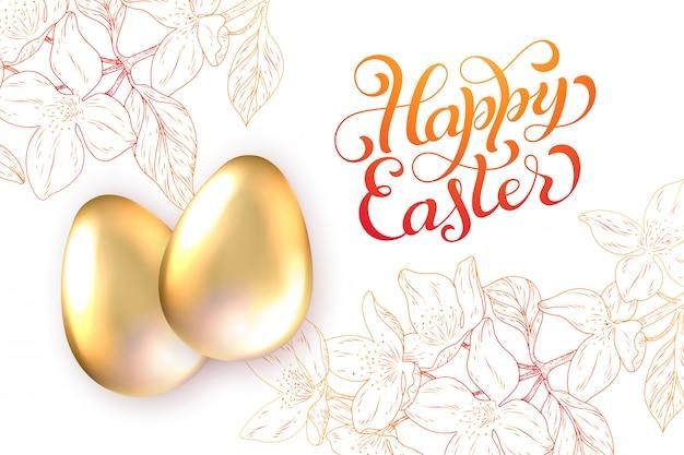Feliz páscoa cartão de férias. ovos de ouro com sombra, letras e flores