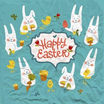 Feliz páscoa cartão de papel amassado com coelhos bonitos segurando flores, galinhas e ovos.