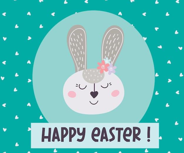 Feliz páscoa! cartão ga com um coelhinho da páscoa. ilustração vetorial