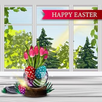 Feliz páscoa, cartão postal com paisagem de primavera