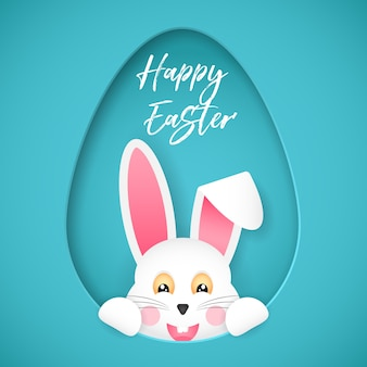 Feliz páscoa. cartaz de felicitações. o coelhinho da páscoa olha para fora do buraco em forma de ovo. estilo dos desenhos animados.