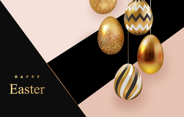 Feliz páscoa cartões com ovos de páscoa de ouro branco com padrões geométricos.