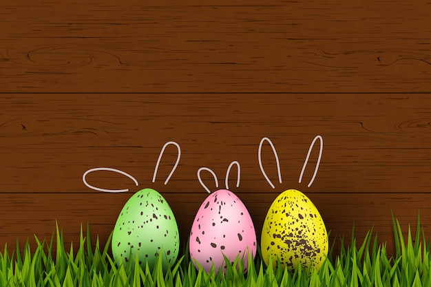 Feliz páscoa. coelhinha colorida, engraçada, decorada com ovos de páscoa de codorna, grama em fundo de madeira