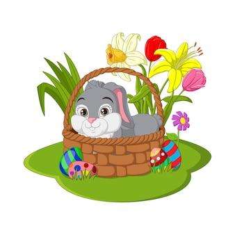 Feliz páscoa. coelhinha da páscoa sentada em uma cesta
