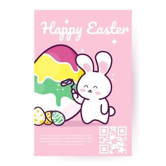 Feliz páscoa coelhinho da páscoa e ovo de páscoa