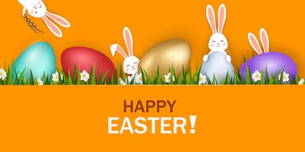 Feliz páscoa. coelhinhos da páscoa em pé com ovos de páscoa