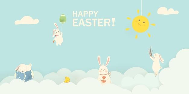 Feliz páscoa coelho coelhinho da páscoa com balão de ovos