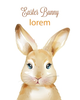 Feliz páscoa coelho em aquarela com orelhas para cima
