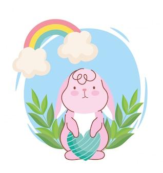 Feliz páscoa, coelho fofo com coração listrado amor arco-íris decoração