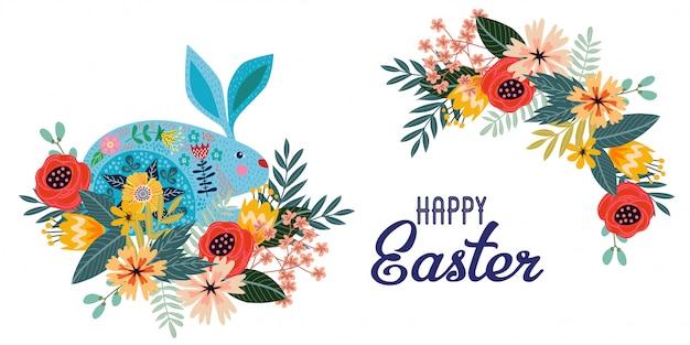 Feliz páscoa. coelho folk bonito dos desenhos animados com buquê de flores e texto. horizontal