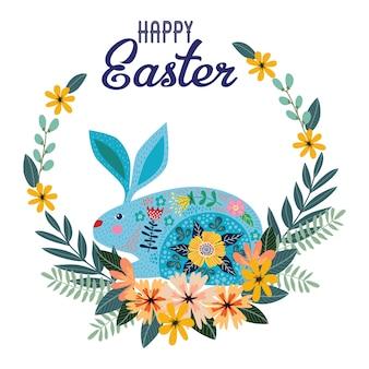 Feliz páscoa. coelho folk bonito dos desenhos animados com coroa de flores com texto.