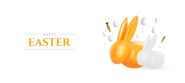 Feliz páscoa. coelho realista e ovos em fundo branco. decoração de páscoa. . Vetor Premium