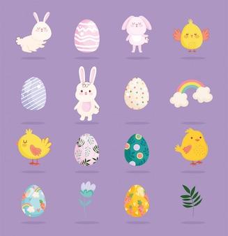 Feliz páscoa coelhos bonitos galinhas arco-íris ovos flor