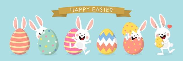 Feliz páscoa com coelhinha branca e ovos coloridos