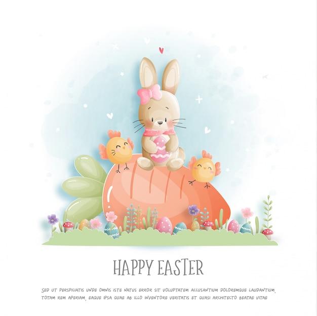 Feliz páscoa com coelhinho fofo e ovos de páscoa em papel cortado estilo ilustração.