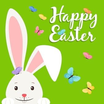 Feliz páscoa com coelho e flores ilustração vetorial