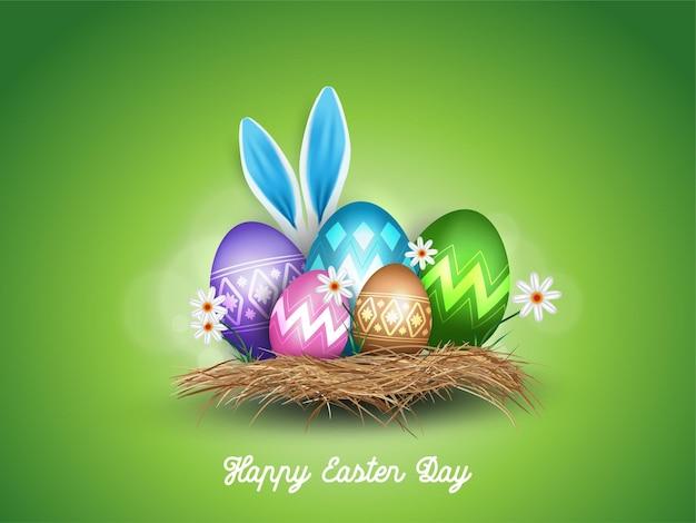 Feliz páscoa com fundo realístico decorado com orelhas de coelho e ovos de páscoa Vetor Premium