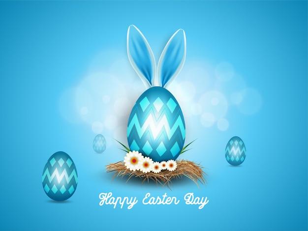 Feliz páscoa com fundo realístico decorado com orelhas de coelho e ovos de páscoa
