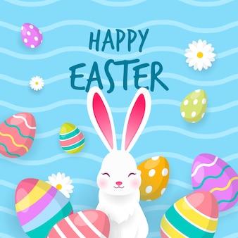 Feliz páscoa com ilustração vetorial de coelho branco.