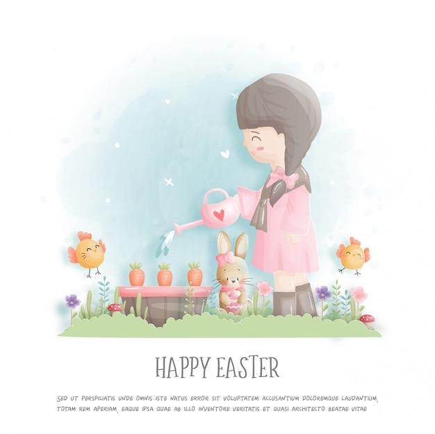 Feliz páscoa com menina plantando cenouras e ovos de páscoa em papel cortado estilo ilustração.