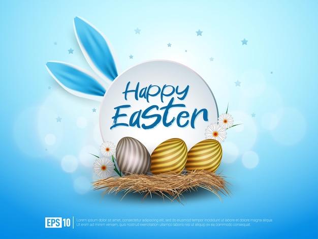 Feliz páscoa com orelhas de ovo e coelho