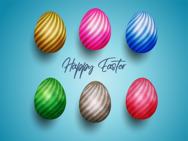Feliz páscoa com ovo pintado de cores