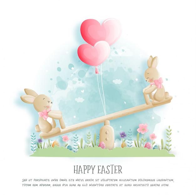 Feliz páscoa com ovos de coelho fofo e éster no corte de papel estilo ilustração.
