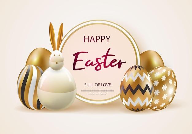 Feliz páscoa com ovos realistas de ouro rosa.