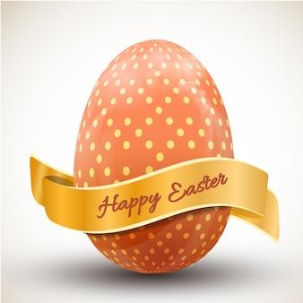 Feliz páscoa com um grande ovo de bolinhas laranja e ilustração vetorial realista de fita