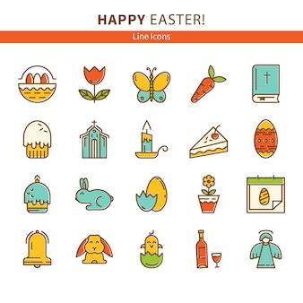 Feliz páscoa conjunto de ícones de linha