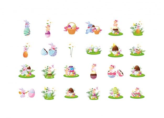 Feliz páscoa conjunto de ícones