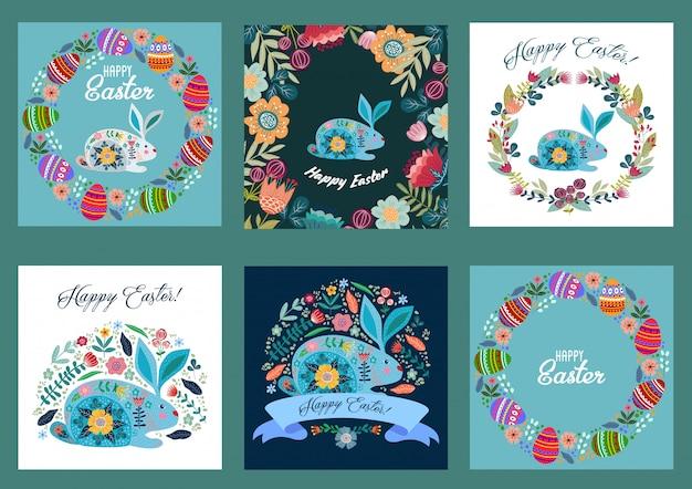 Feliz páscoa. conjunto de modelos para cartões e banners com desenhos animados bonitos ovos, coelho e flores.