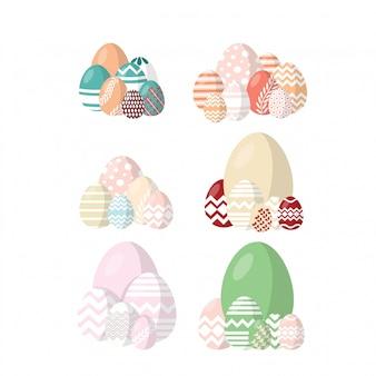 Feliz páscoa. conjuntos de ovos de páscoa