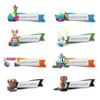 Feliz páscoa, definir banners de saudação em forma de fitas com desenho de páscoa